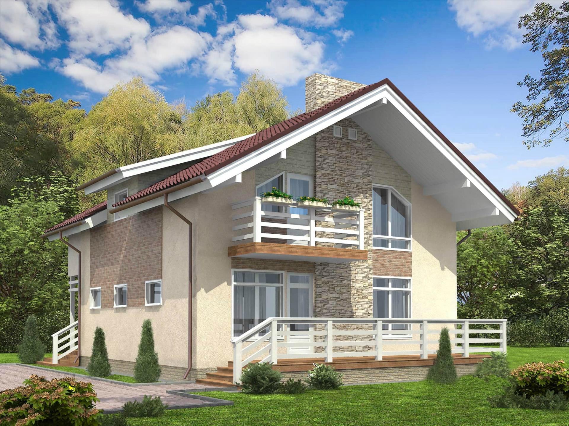 недорогие двухэтажные дома из пеноблоков